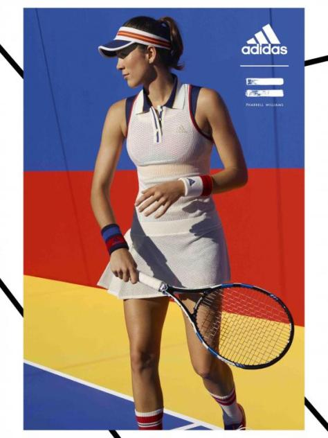 Fashion collaboration Adidas by Pharrell Williams tennis pro Muguruza