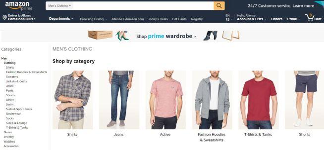 Amazon Fashion menswear site