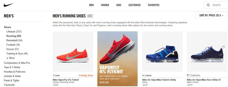 Nike Online Store Running Shoes