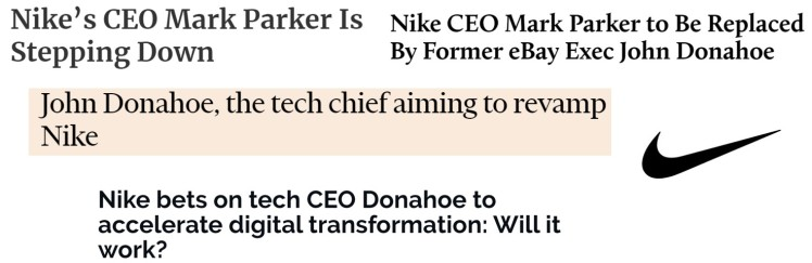 Nike new CEO Donahoe technology apparel omnichannel